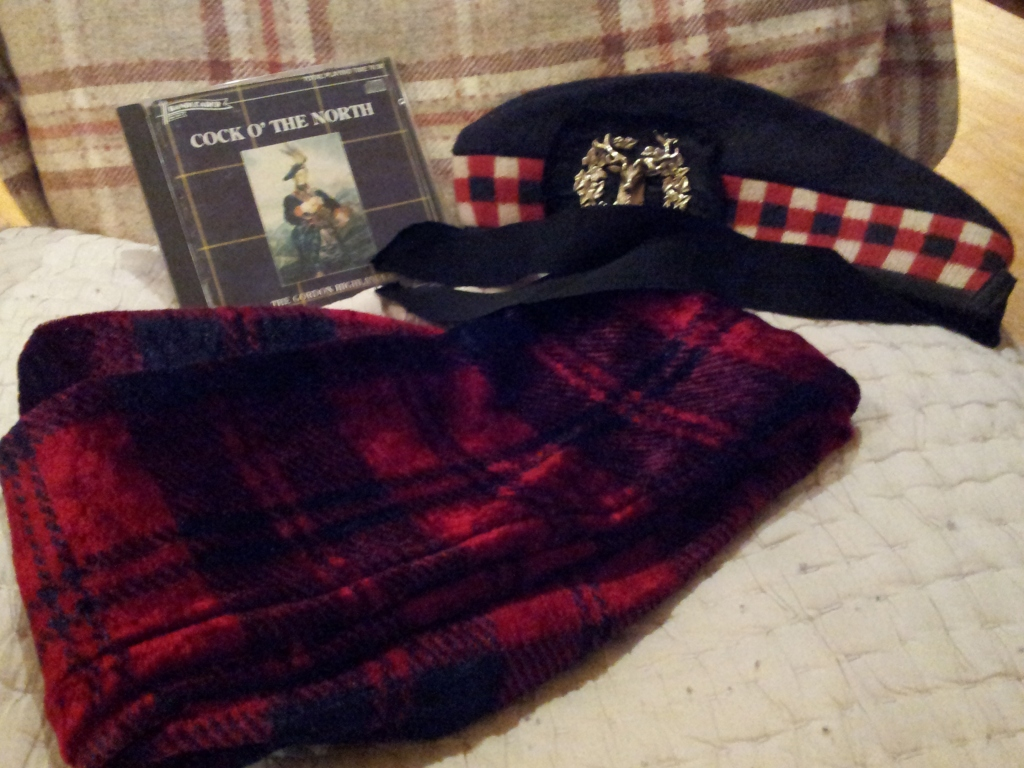 Burns' Night wouldn't be Burns' Night without bagpipe music, tartan trews and a glengarry bonnet (kindly donated by a neighbour)